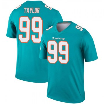 Youth Nike Miami Dolphins Jason Taylor Aqua Inverted Jersey - Legend