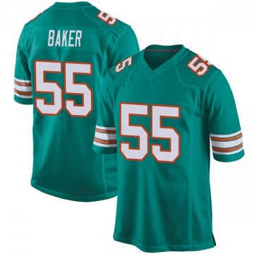 Youth Nike Miami Dolphins Jerome Baker Aqua Alternate Jersey - Game