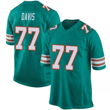 Youth Nike Miami Dolphins Jesse Davis Aqua Alternate Jersey - Game