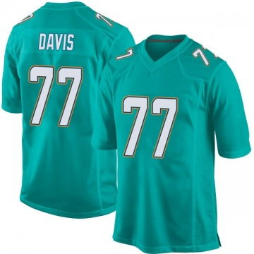 Youth Nike Miami Dolphins Jesse Davis Aqua Team Color Jersey - Game