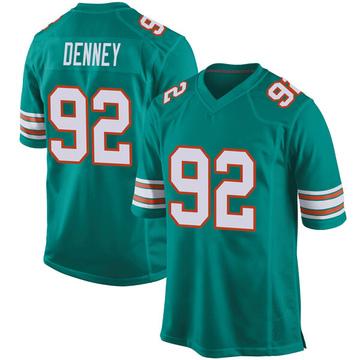 Youth Nike Miami Dolphins John Denney Aqua Alternate Jersey - Game