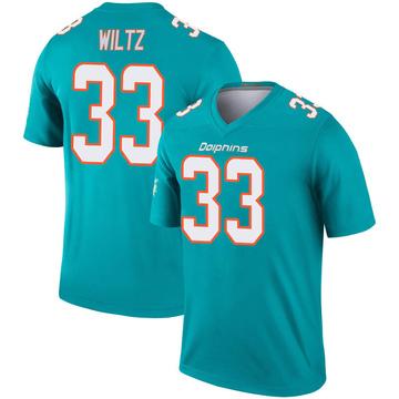 Youth Nike Miami Dolphins Jomal Wiltz Aqua Inverted Jersey - Legend