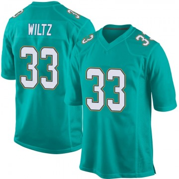 Youth Nike Miami Dolphins Jomal Wiltz Aqua Team Color Jersey - Game