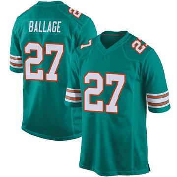 Youth Nike Miami Dolphins Kalen Ballage Aqua Alternate Jersey - Game