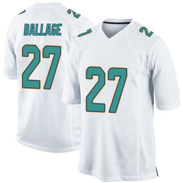 Youth Nike Miami Dolphins Kalen Ballage White Jersey - Game