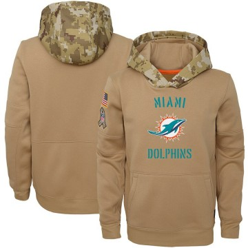 Youth Nike Miami Dolphins Khaki 2019 Salute to Service Therma Pullover Hoodie -