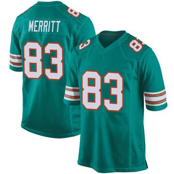 Youth Nike Miami Dolphins Kirk Merritt Aqua Alternate Jersey - Game
