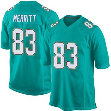 Youth Nike Miami Dolphins Kirk Merritt Aqua Team Color Jersey - Game