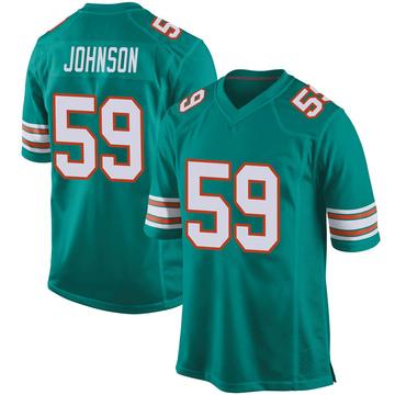 Youth Nike Miami Dolphins Kylan Johnson Aqua Alternate Jersey - Game