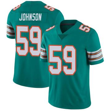 Youth Nike Miami Dolphins Kylan Johnson Aqua Alternate Vapor Untouchable Jersey - Limited