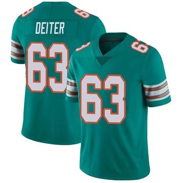 Youth Nike Miami Dolphins Michael Deiter Aqua Alternate Vapor Untouchable Jersey - Limited