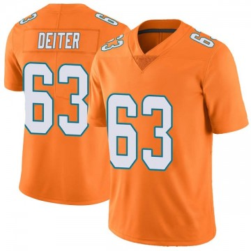Youth Nike Miami Dolphins Michael Deiter Orange Color Rush Jersey - Limited