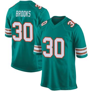 Youth Nike Miami Dolphins Nate Brooks Aqua Alternate Jersey - Game