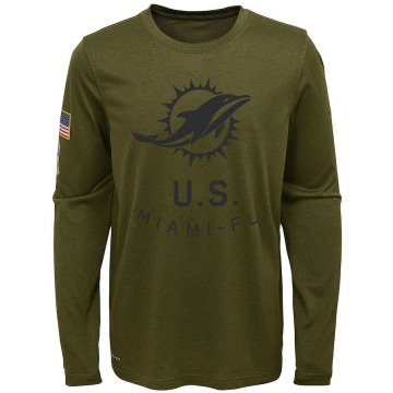Youth Nike Miami Dolphins Olive 2018 Salute to Service Performance Long Sleeve T-Shirt - Legend