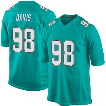Youth Nike Miami Dolphins Raekwon Davis Aqua Team Color Jersey - Game