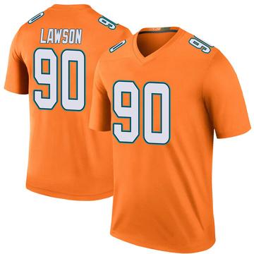 Youth Nike Miami Dolphins Shaq Lawson Orange Color Rush Jersey - Legend