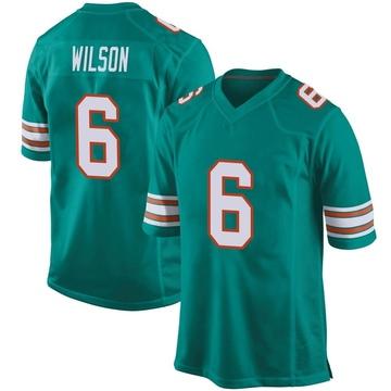Youth Nike Miami Dolphins Stone Wilson Aqua Alternate Jersey - Game
