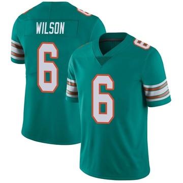Youth Nike Miami Dolphins Stone Wilson Aqua Alternate Vapor Untouchable Jersey - Limited