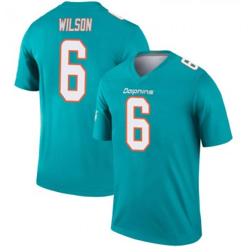Youth Nike Miami Dolphins Stone Wilson Aqua Inverted Jersey - Legend