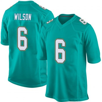 Youth Nike Miami Dolphins Stone Wilson Aqua Team Color Jersey - Game