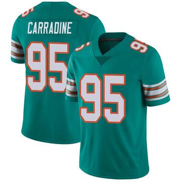Youth Nike Miami Dolphins Tank Carradine Aqua Alternate Vapor Untouchable Jersey - Limited