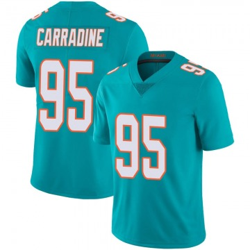 Youth Nike Miami Dolphins Tank Carradine Aqua Team Color 100th Vapor Untouchable Jersey - Limited