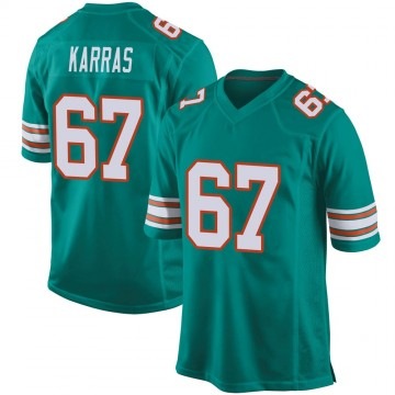 Youth Nike Miami Dolphins Ted Karras Aqua Alternate Jersey - Game