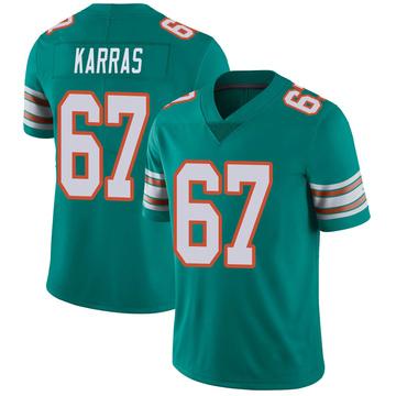 Youth Nike Miami Dolphins Ted Karras Aqua Alternate Vapor Untouchable Jersey - Limited