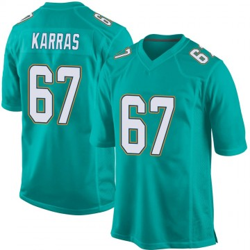 Youth Nike Miami Dolphins Ted Karras Aqua Team Color Jersey - Game