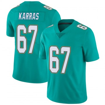 Youth Nike Miami Dolphins Ted Karras Aqua Team Color Vapor Untouchable Jersey - Limited