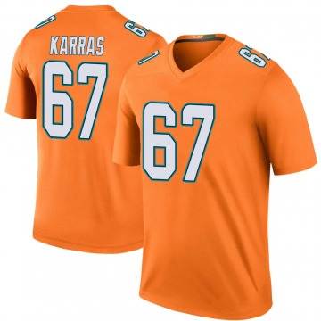 Youth Nike Miami Dolphins Ted Karras Orange Color Rush Jersey - Legend