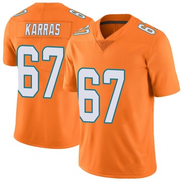 Youth Nike Miami Dolphins Ted Karras Orange Color Rush Jersey - Limited