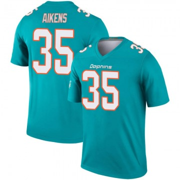 Youth Nike Miami Dolphins Walt Aikens Aqua Inverted Jersey - Legend